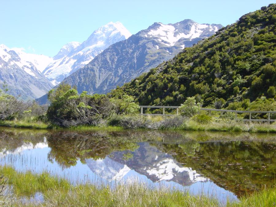 Mt. Cook spiegelt sich im Red Tarn Lake