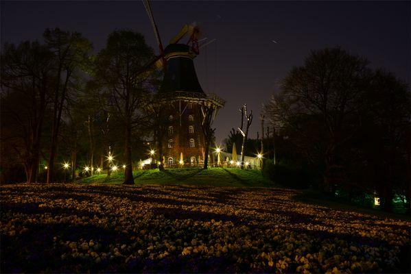 Mühle am Wall bei Nacht