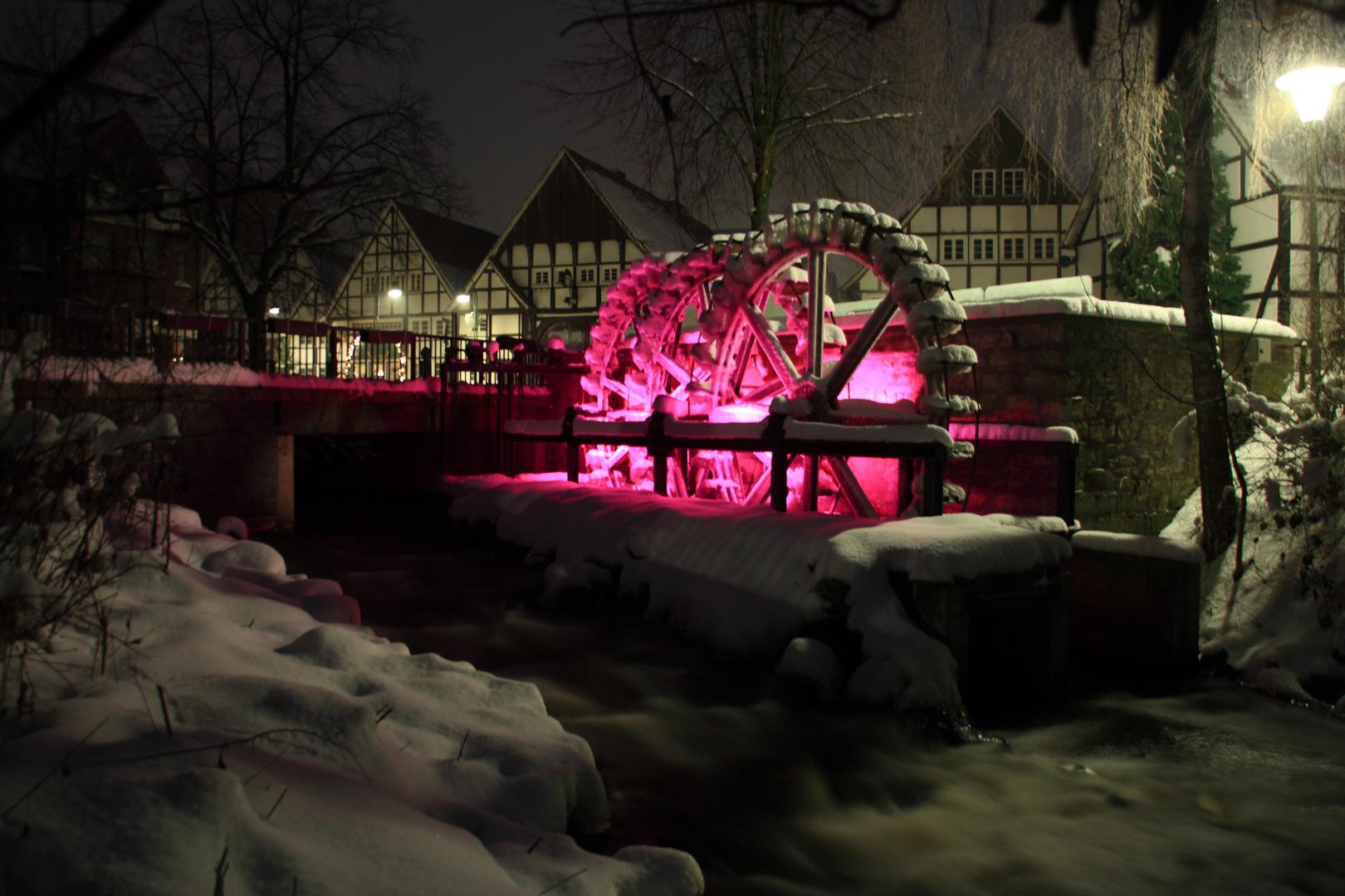 Mühlenräder in Wiedenbrück im Winter