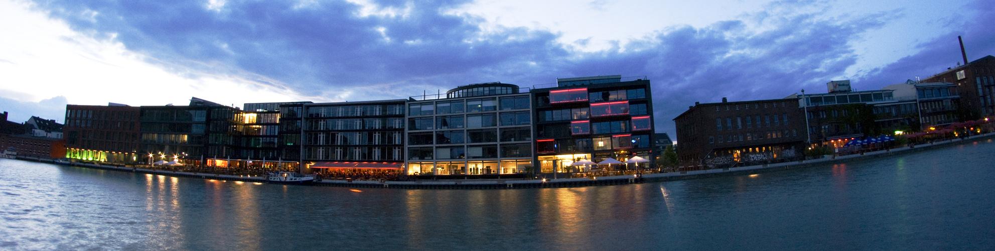 Münster-Hafen bei Nacht