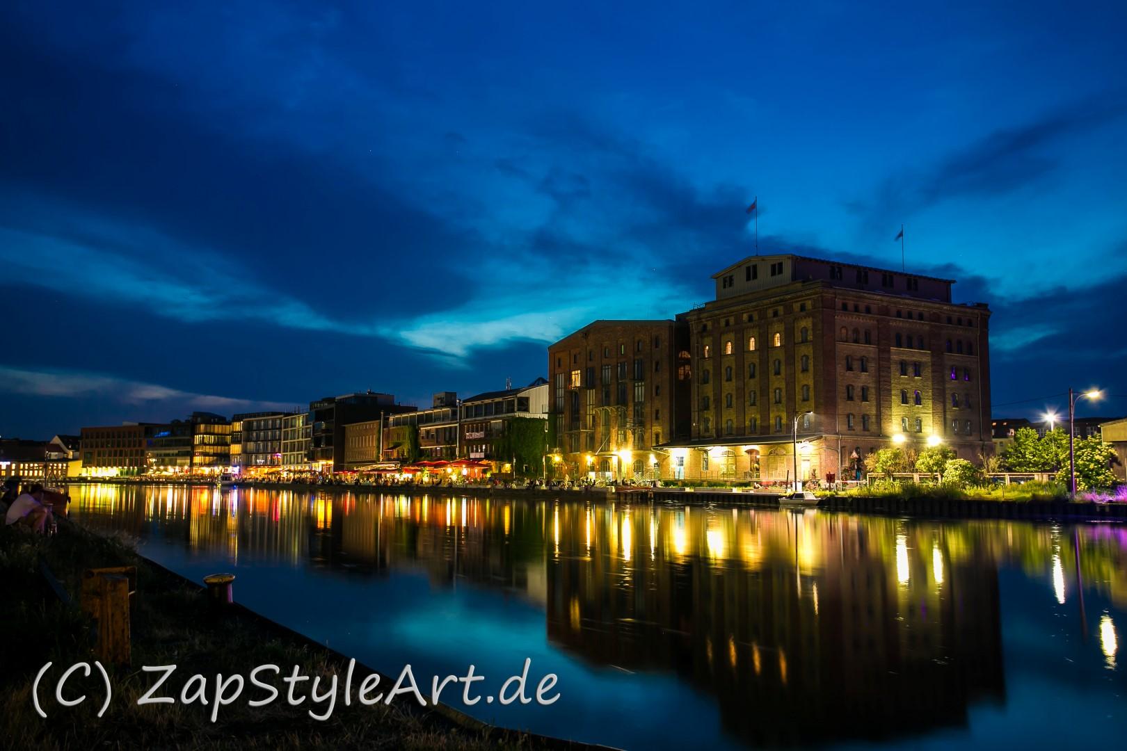 Münster Hafen bei Nacht