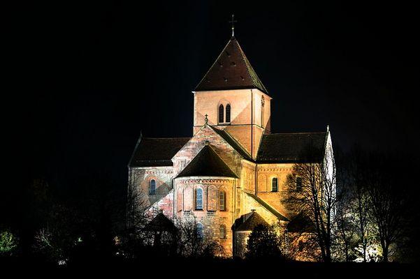 Münster Schwarzach bei Nacht