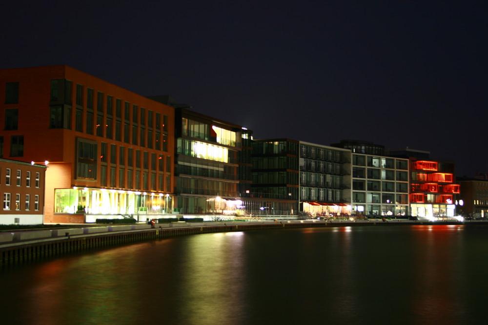 Münsters Hafen bei Nacht