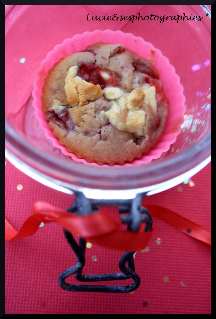 Muffins fraises & chocolat blanc
