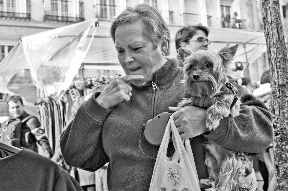Mujer con Perrito Elucubrando