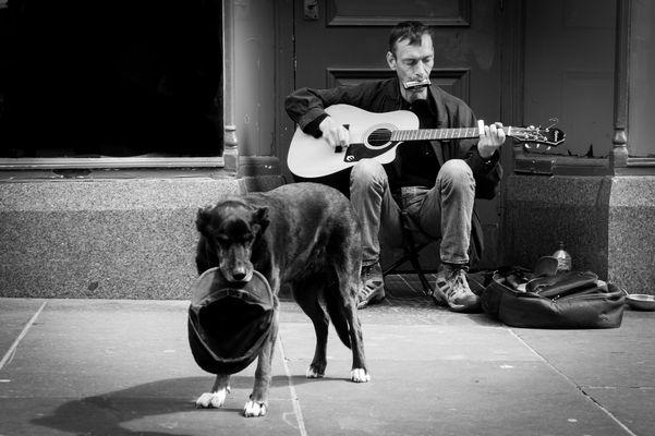 Musiker und sein Freund in Glasgow.
