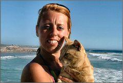 My dutch friend  and her cat at beach.