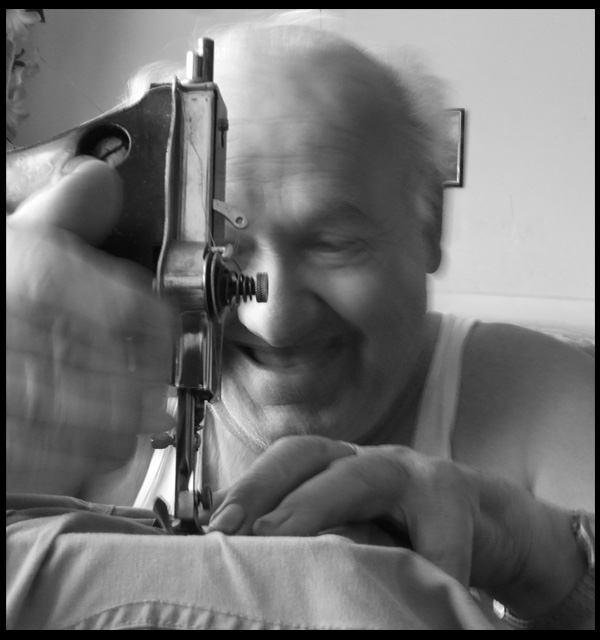 my uncle Lada and his sewing mashine LADA