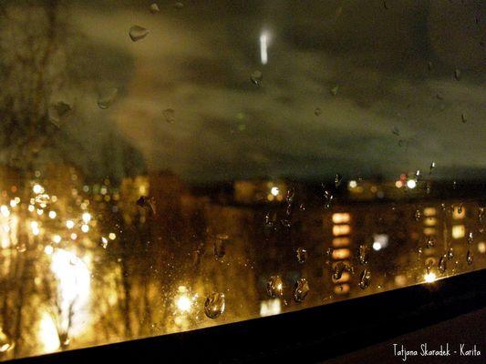 MY WINDOW. NIGHT RAIN