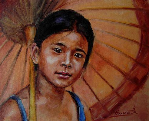Myanmar Girl (with bamboo umbrella)