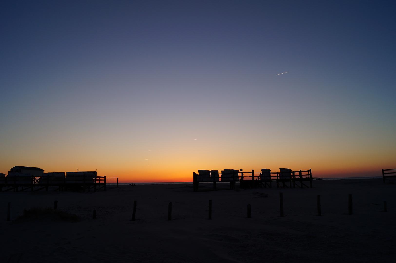 Nach dem Sonnenuntergang am Strand von St. Peter Ording
