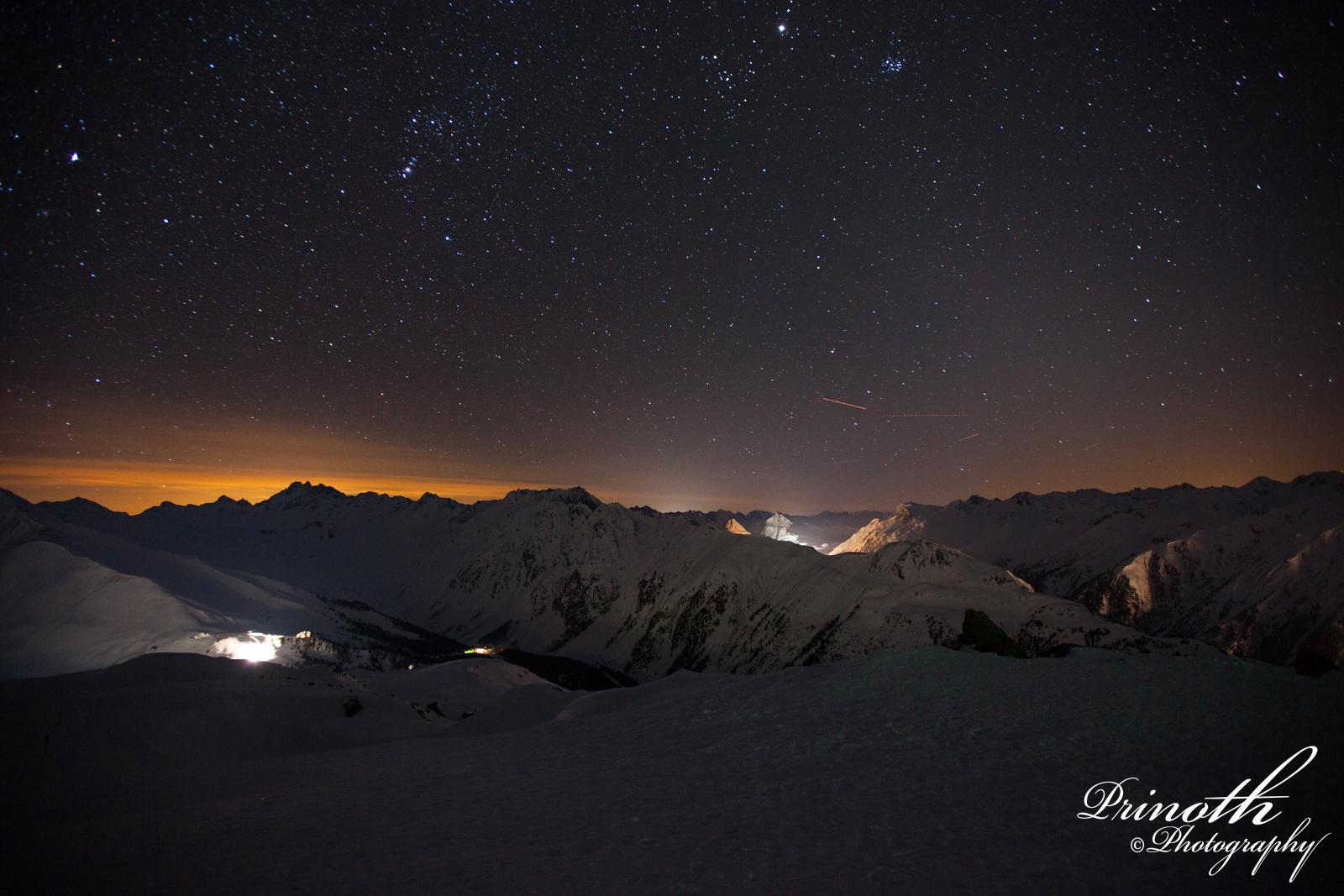 Nachtaufnahme aus der Silvretta Ski Arena