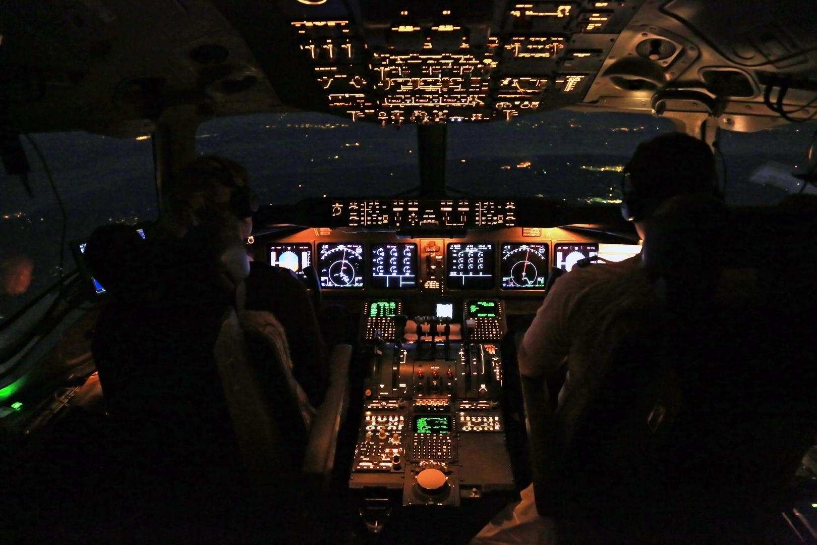 Nachtflug über Johannesburg