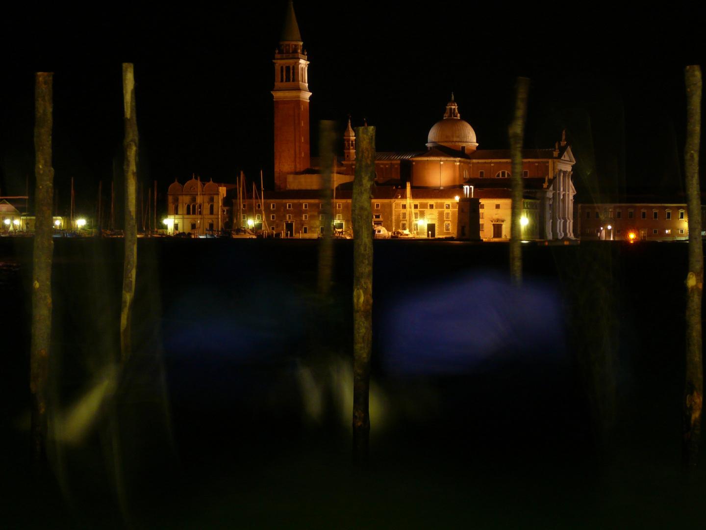 Nachts am Canale Grande, Blick auf San Giorgio Maggiore