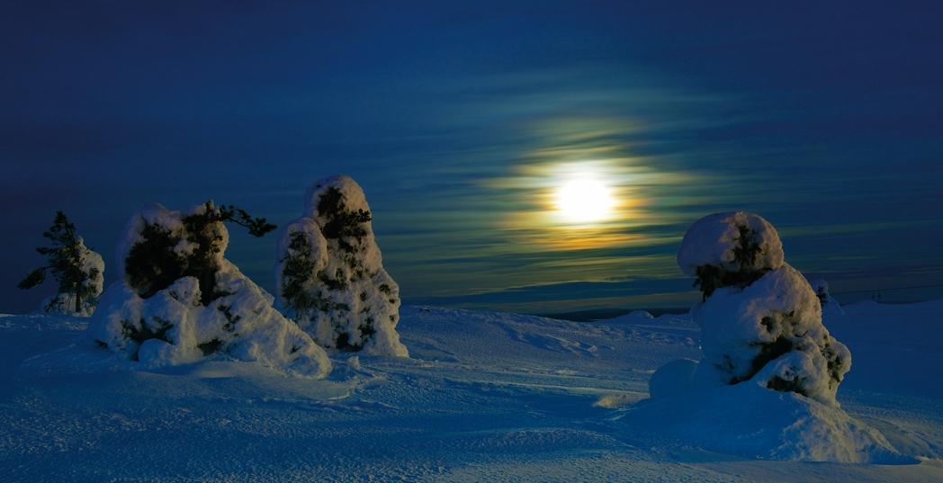 Nachts auf dem Berg, Lappland 2013