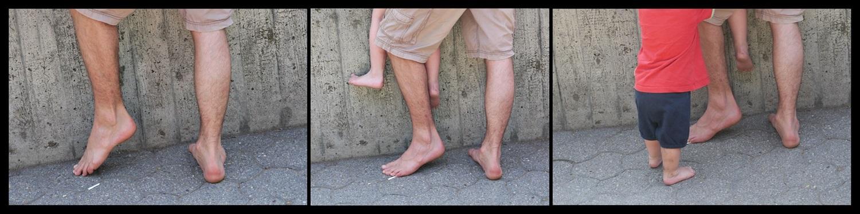 Nackte Füße im Dreierpack