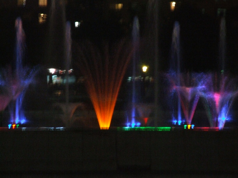 NDK's fountains at night