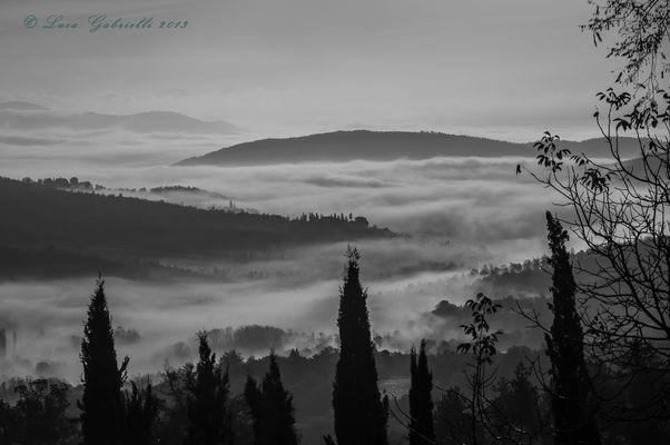Nebbia sul lago di Montedoglio