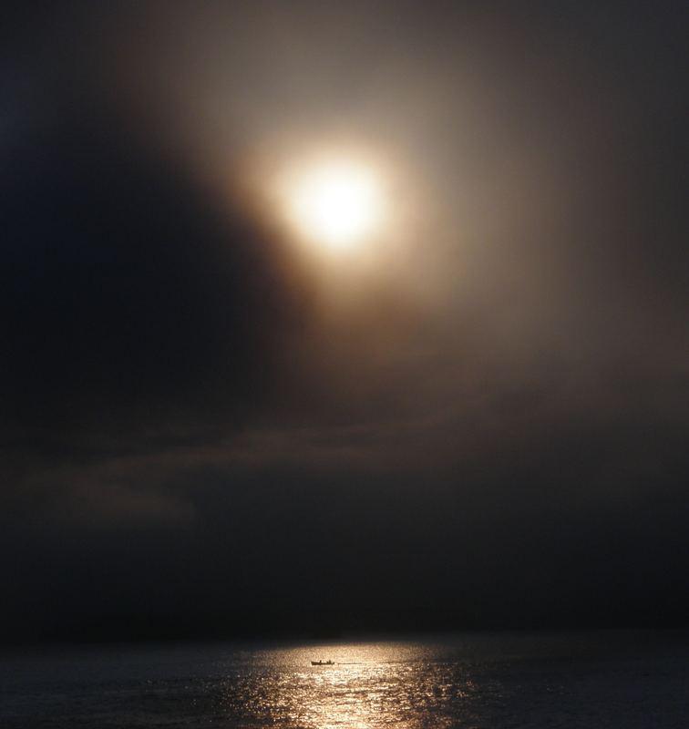 Nebel bei Sonnenuntergang