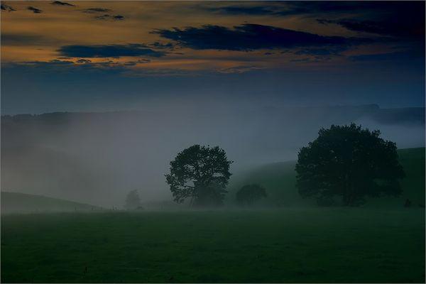 Nebel nach Sonnenuntergang