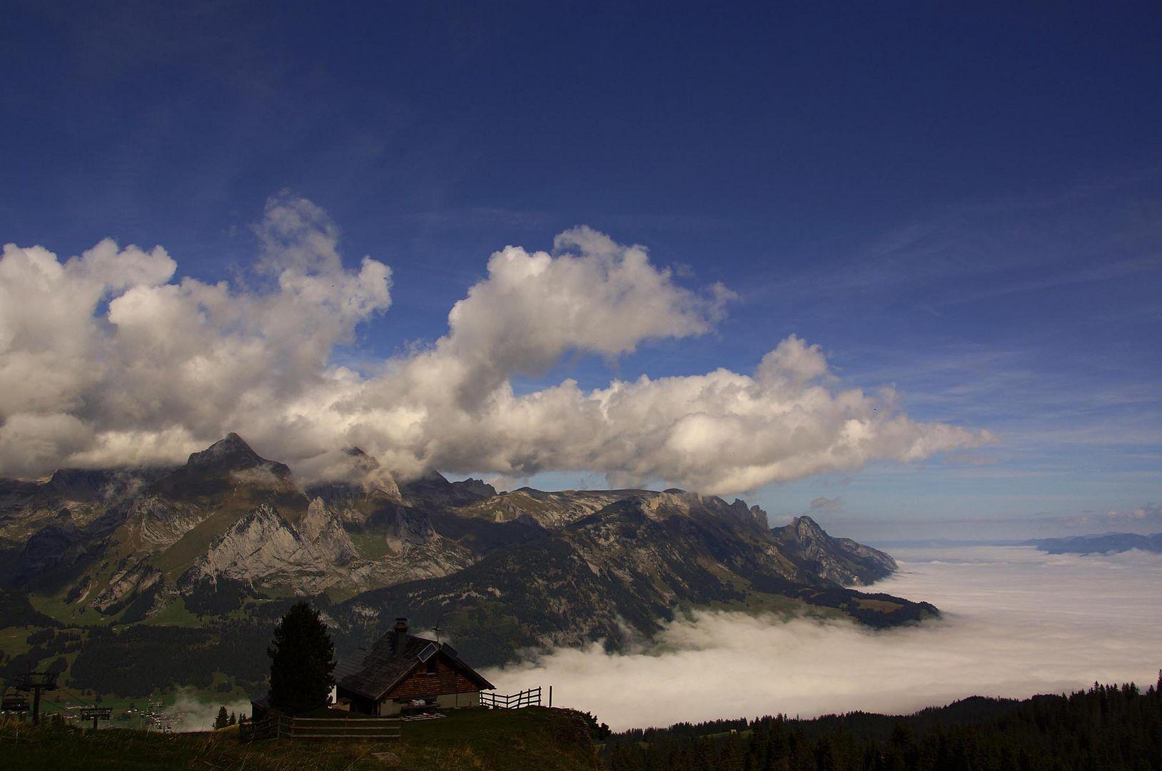 Nebel über dem Alpstein und dem Rheintal