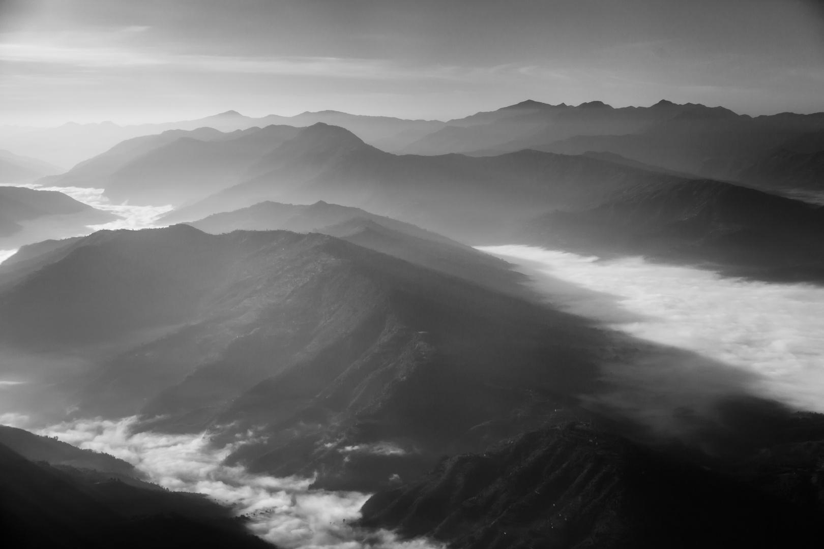 Nebel über dem Kathmandu-Tal