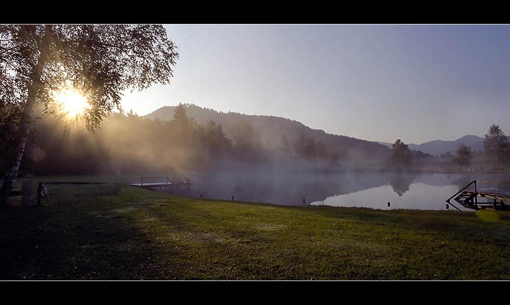 Nebel über dem See im Moor