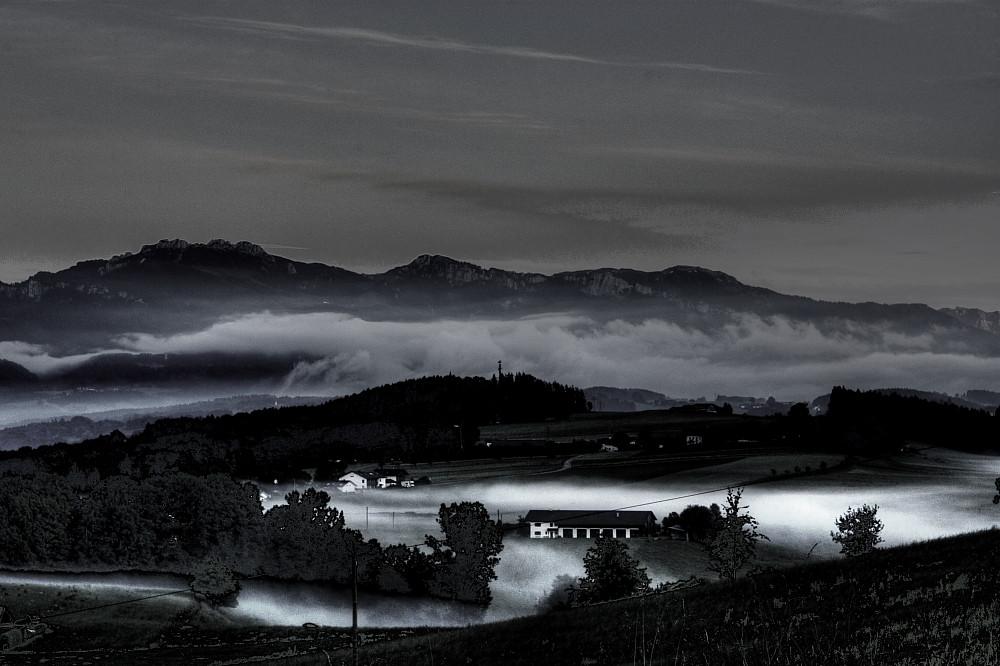 Nebel zieht auf an der Kampenwand