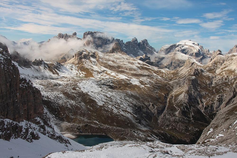 Nebel zieht auf beim Aufstieg an die Oberbachernspitzen 2.677 m.