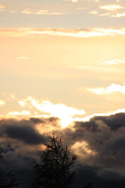 Nebel zieht ins Abendrot