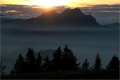 Nebelicher Sonnenuntergang....