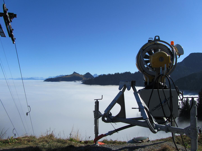 Nebelmaschine im Skigebiet Sudelfeld
