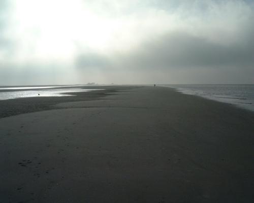 Nebelschwaden über dem Strand von St. Peter-Ording
