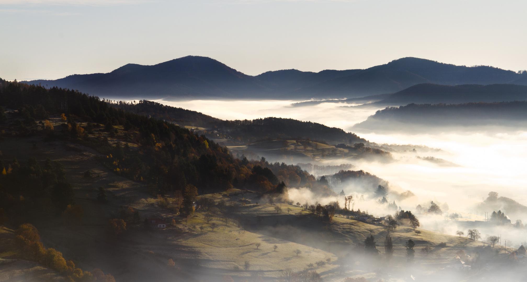 Nebelschwaden und Herbstlandschaften