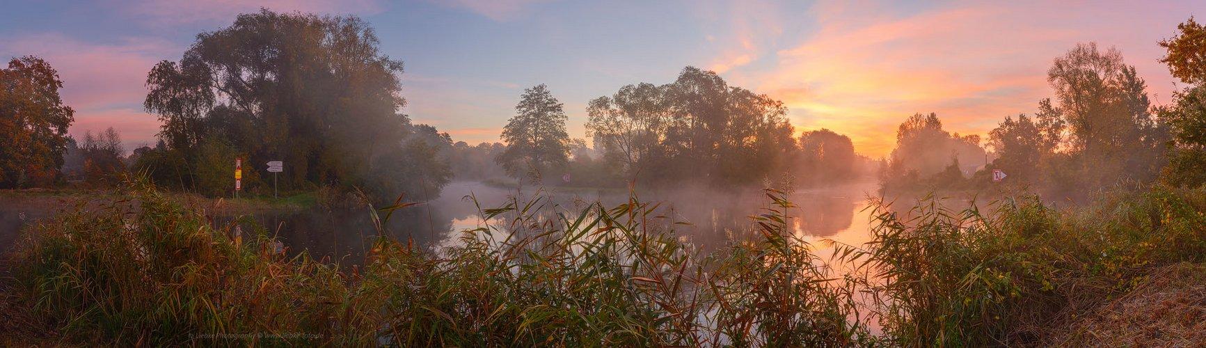 Nebliger Morgen am Havelkanal in Oranienburg