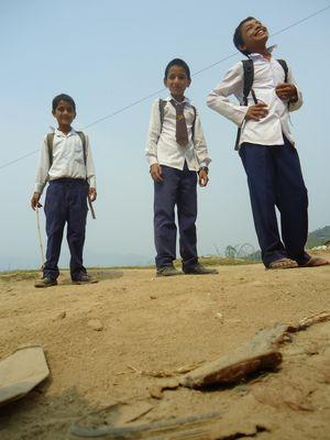 Nepali boys on their way to school
