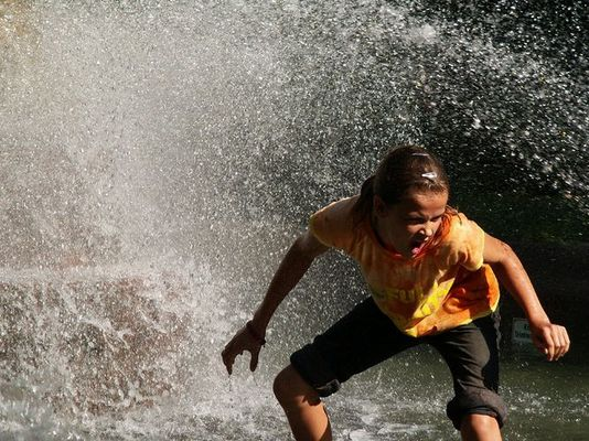 Nessi beim Surfen im Springbrunnen