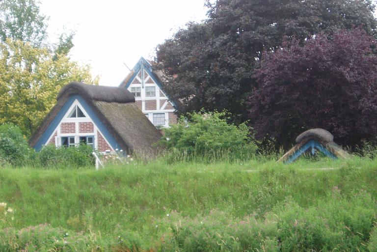 Neugierige Häuser hinterm Deich