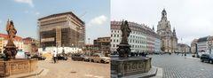 Neumarkt Dresden August 2001 und März 2016
