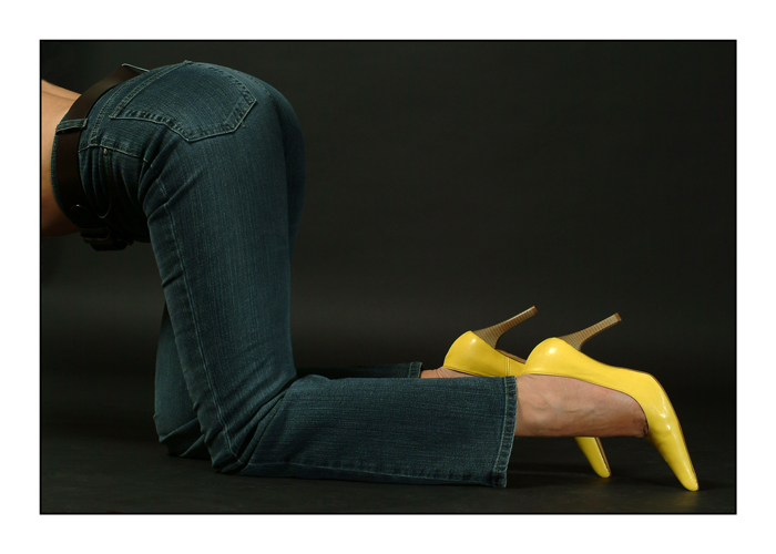 new jeans, new yellow shoes