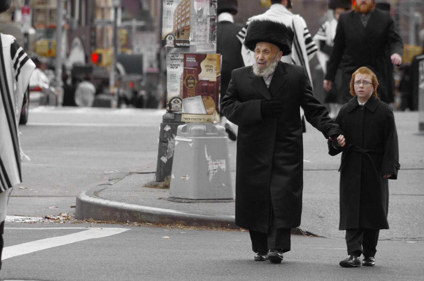 New York - Grossfather und Enkelkind