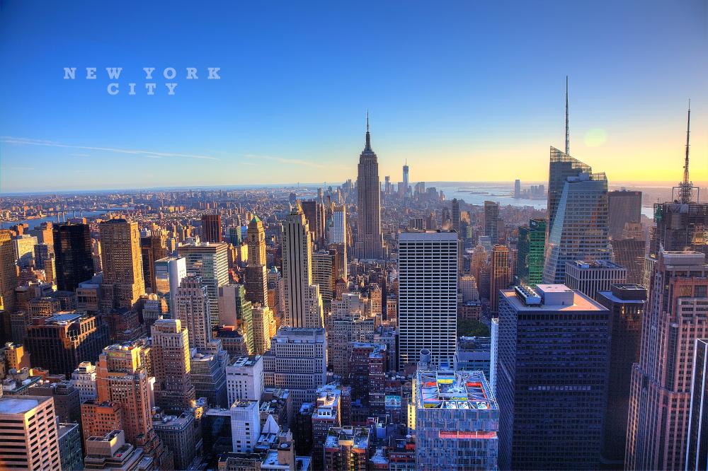 new york skyline from rockefeller center foto bild. Black Bedroom Furniture Sets. Home Design Ideas