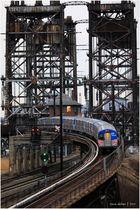 Newark-bound PATH Train Climbs Ramp to Dock Bridge