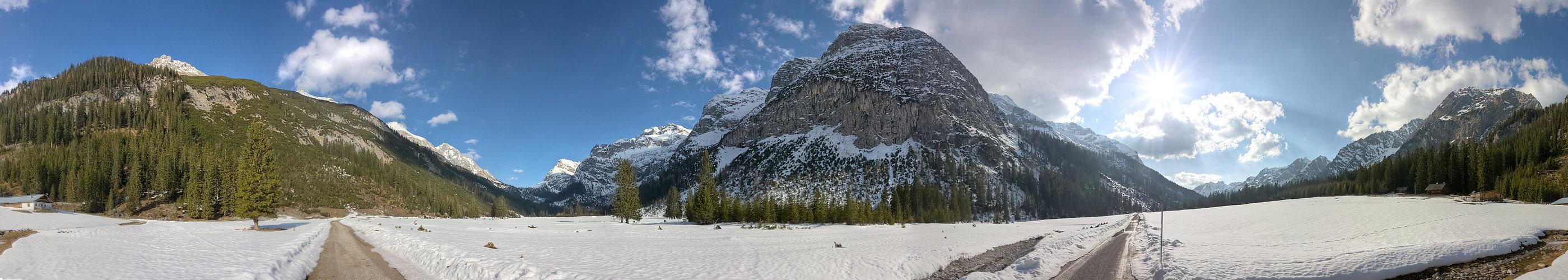 Nicht viel Schnee im Karwendeltal