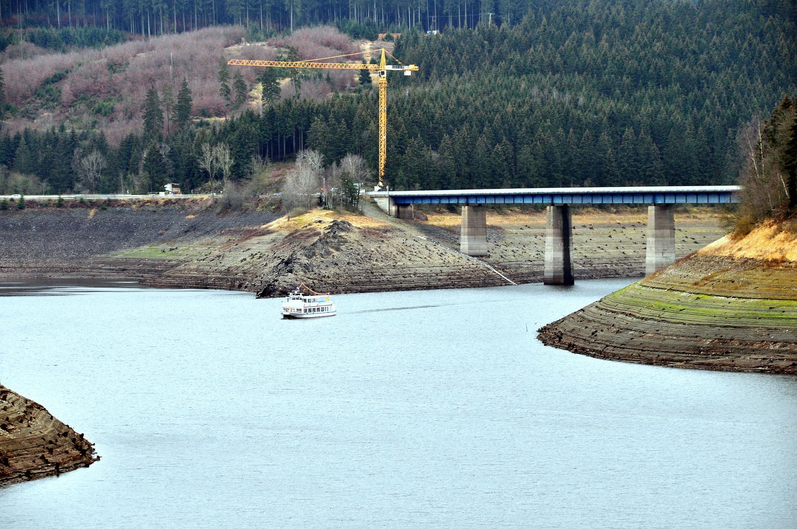 Niedrigwasser in der Okertalsperre