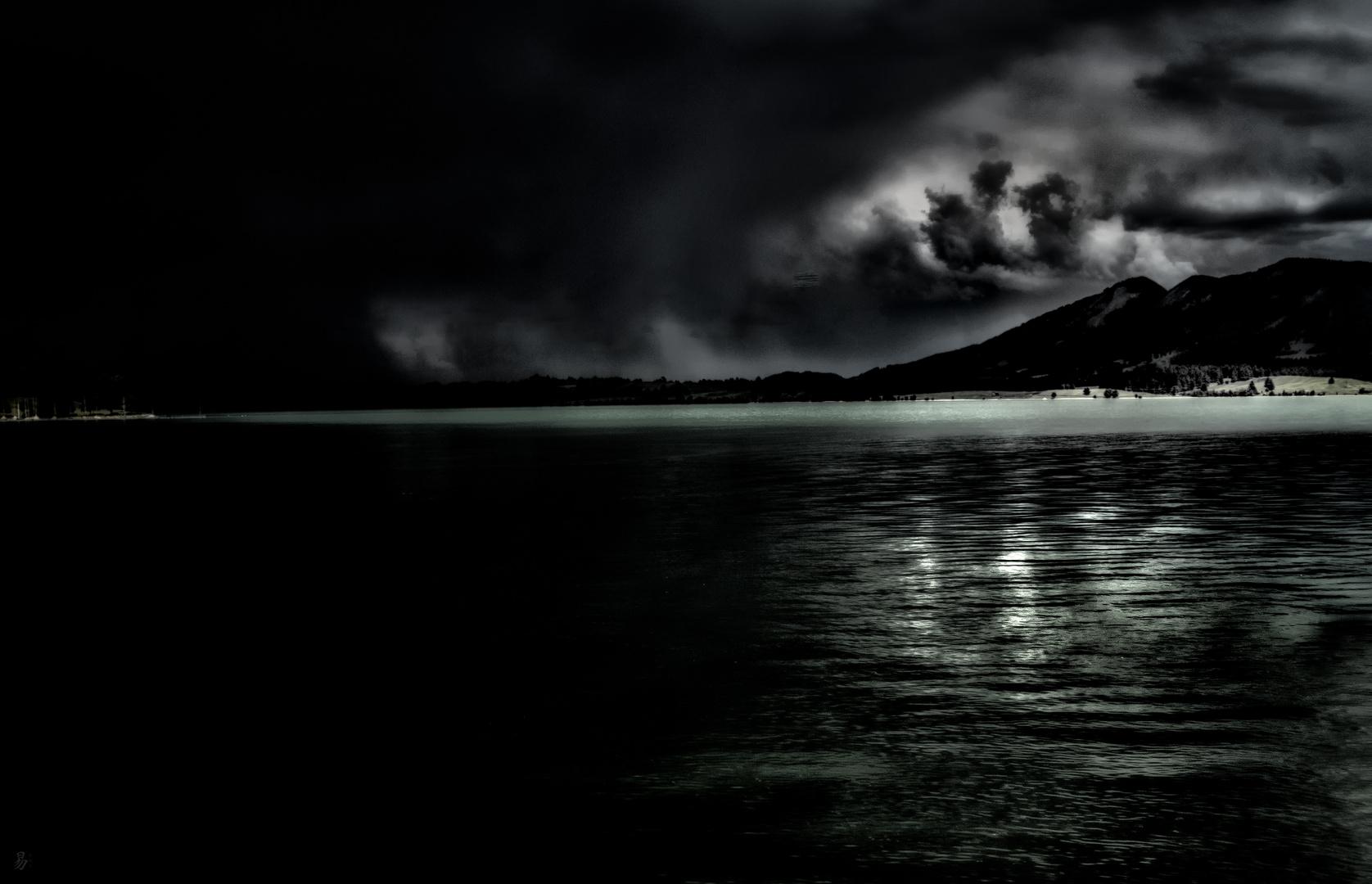 night fall over the lake