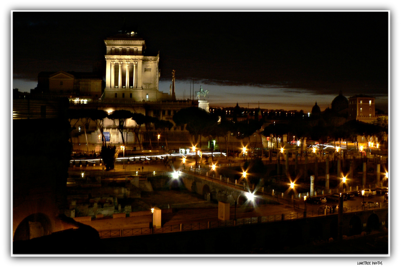 Night View from the Caesar Forum and Trajan Markets to the Vittoriano