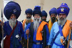 Nihang Sikhs in Bangla Sahib Gurdwara in New Delhi