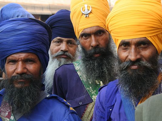 Nihang Sikhs in Gurudwara Sis Ganj Sahib at Chandni Chowk in Old Delhi.