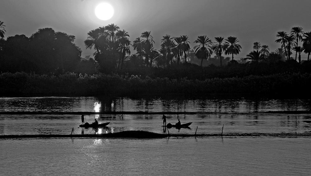 Nilo Tramonto in bianco e nero